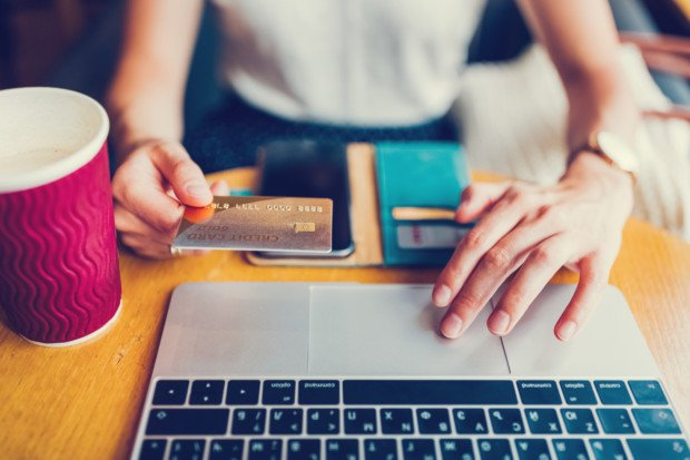 Businesswoman making online payments