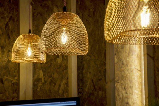 gold lights in office