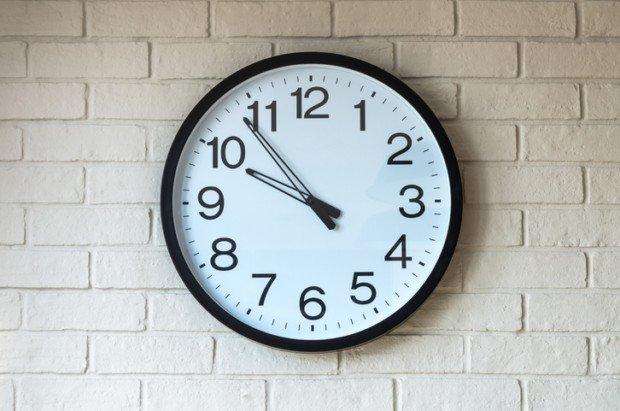 Clock on brick wall